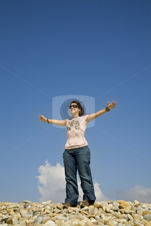 Happy stock photo, Woman at the beach with open arms and the sky by Rui Vale de Sousa