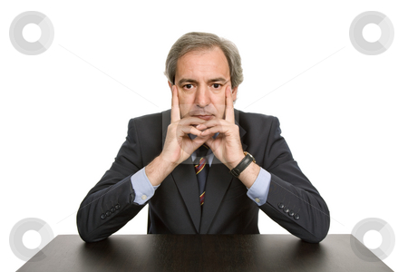 Thinking stock photo, Mature business man on a desk, isolated on white by Rui Vale de Sousa