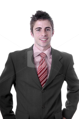 Happy stock photo, Portrait of young man isolated on white by Rui Vale de Sousa