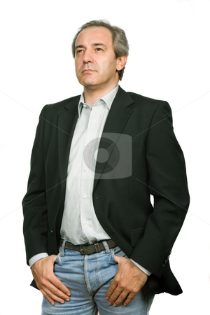 Pensive stock photo, Mature casual man portrait in white background by Rui Vale de Sousa