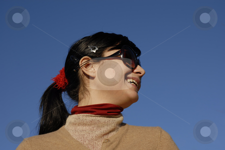 Happy stock photo, Happy young woman portrait and the blue sky by Rui Vale de Sousa
