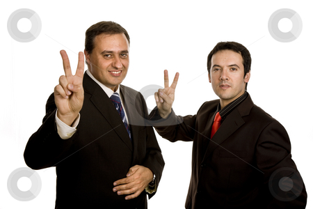 Victory stock photo, Two young business men portrait, focus on the left man by Rui Vale de Sousa