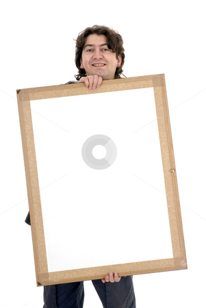 White card stock photo, Man with a white card in a white background by Rui Vale de Sousa