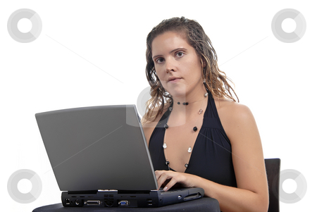 Worker stock photo, Young casual woman working with her laptop by Rui Vale de Sousa