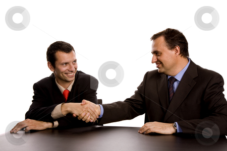 Handshake stock photo, Business men shaking hands, isolated on white by Rui Vale de Sousa