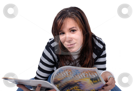 Read stock photo, Woman with a magazine in a white background by Rui Vale de Sousa