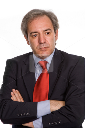 Worried stock photo, Mature business man portrait in white background by Rui Vale de Sousa