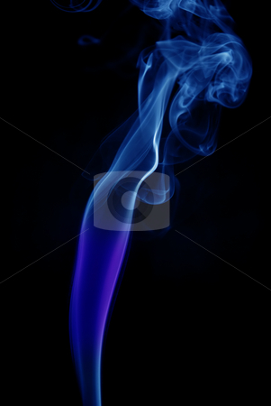 Smoke stock photo, Blue colored abstract smoke in black background by Rui Vale de Sousa