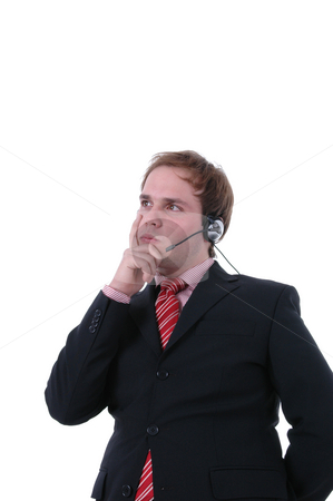 Thinking stock photo, Call center man thinking in a white background by Rui Vale de Sousa