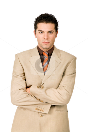 Mad man stock photo, Young business man portrait in white background by Rui Vale de Sousa