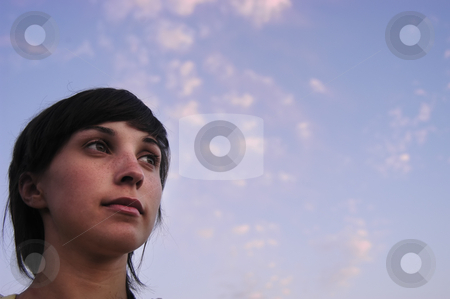 Face stock photo, Sad teen girl and the sky as background by Rui Vale de Sousa