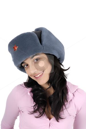 Russian stock photo, Young casual girl with a russian hat by Rui Vale de Sousa