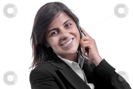 Call stock photo, Business girl on the phone over a white background by Rui Vale de Sousa