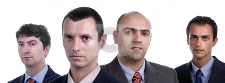 Team stock photo, Young business men portrait on white. focus on the second man by Rui Vale de Sousa