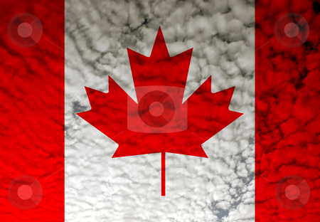 Flag stock photo, Canada flag among white clouds, computer generated by Rui Vale de Sousa