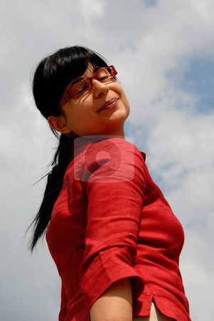 Girl stock photo, Young woman with the sky as background by Rui Vale de Sousa
