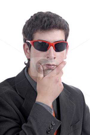 Silly stock photo, Silly young man portrait with sunglasses isolated on white by Rui Vale de Sousa