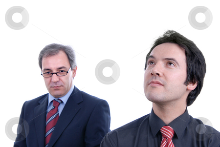 Business men stock photo, Two business men portrait on white. focus on the right man by Rui Vale de Sousa