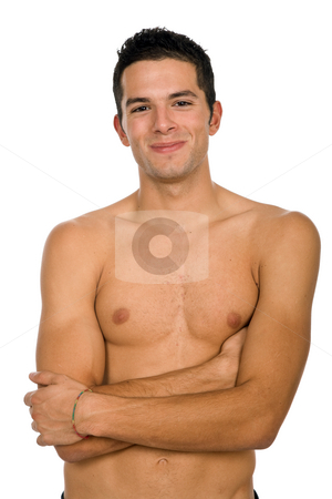 Happy stock photo, Young sensual man on a white background by Rui Vale de Sousa