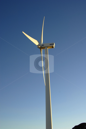 Energy stock photo, Modern white wind turbine or wind mill producing energy by Rui Vale de Sousa