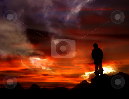 Sunset stock photo, Young woman at sunset in the coast by Rui Vale de Sousa