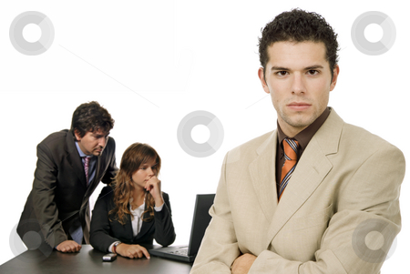 Working stock photo, Young business team working, isolated on white by Rui Vale de Sousa