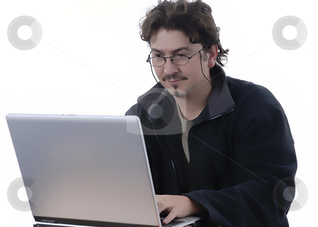 Studying stock photo, Young casual man working with personal computer by Rui Vale de Sousa