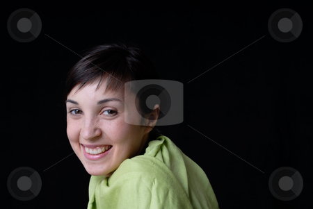 Smile stock photo, Close up portrait of young beautiful woman by Rui Vale de Sousa