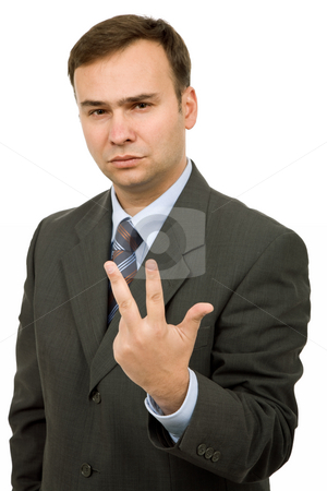 Fingers stock photo, Young business man portrait in white background by Rui Vale de Sousa