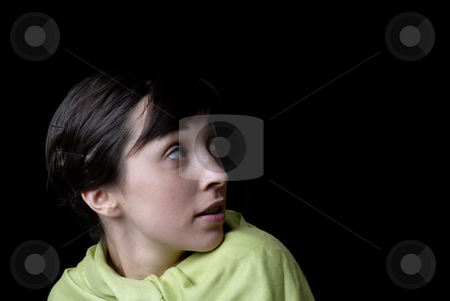 Girl stock photo, Portrait of a brunette young girl in black background by Rui Vale de Sousa
