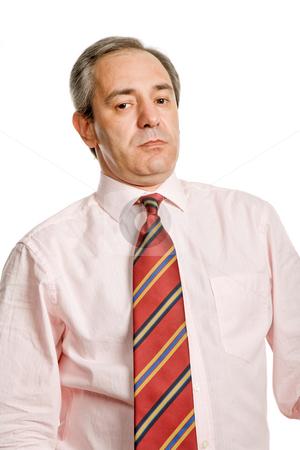Pensive stock photo, Mature business man portrait in white background by Rui Vale de Sousa