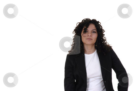 Woman stock photo, Young adult woman alone in a white background by Rui Vale de Sousa