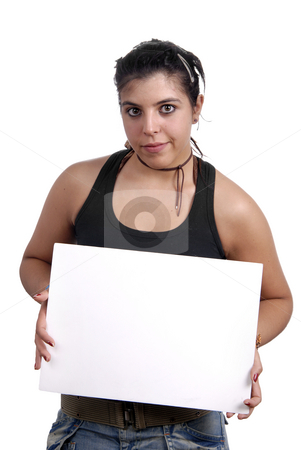 Paper stock photo, Casual woman with an empty white card by Rui Vale de Sousa
