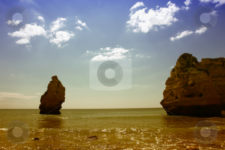 Beach stock photo, Big beach rocks at algarve in the south of portugal by Rui Vale de Sousa
