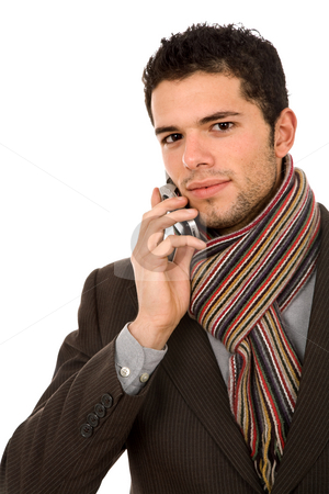 Calling stock photo, Young business man on the phone, isolated by Rui Vale de Sousa