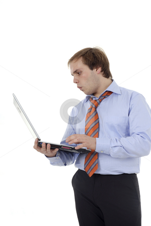 Working stock photo, Young business man with a personal computer by Rui Vale de Sousa