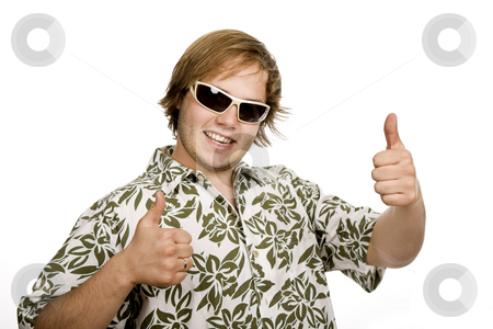 Thumbs up stock photo, Young casual man going thumbs up isolated on white by Rui Vale de Sousa
