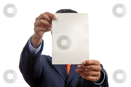 Add stock photo, Business man holding a card in his head by Rui Vale de Sousa