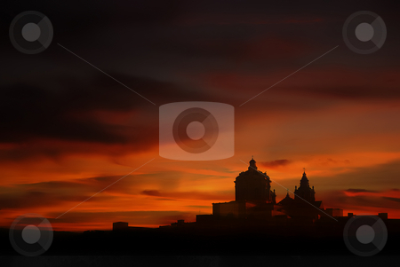 Sunset stock photo, Medieval city of Malta in silhouette at sunset by Rui Vale de Sousa