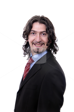 Happy stock photo, Young business man standing on white background by Rui Vale de Sousa
