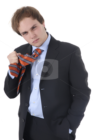 Mad stock photo, Mad young business man in a white background by Rui Vale de Sousa