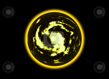 Yellow stock photo, Illustration of a strange planet in black sky by Rui Vale de Sousa