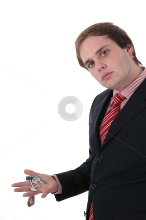 Keys stock photo, Business man portrait with car keys in the hand by Rui Vale de Sousa
