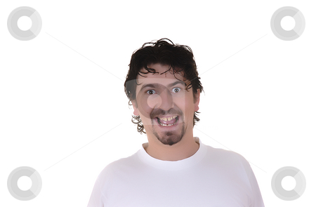 Happy stock photo, Casual happy young man in a white background by Rui Vale de Sousa