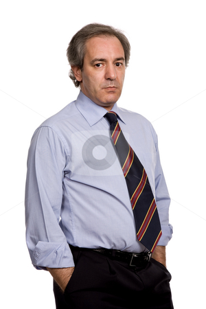 Standing stock photo, Pensive business man, isolated over a white background by Rui Vale de Sousa