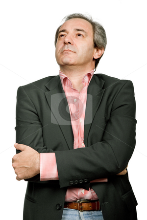 Thoughts stock photo, Mature casual man portrait in white background by Rui Vale de Sousa