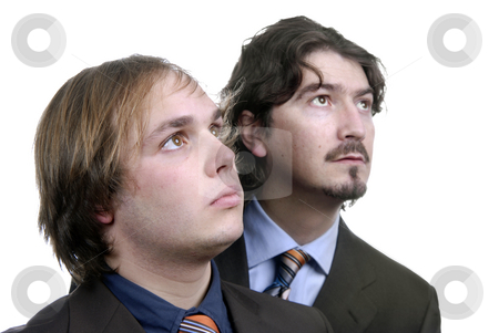 Wondering stock photo, Two young business men portrait on white. focus on the left man by Rui Vale de Sousa