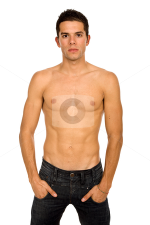 Youth stock photo, Young sensual man on a white background by Rui Vale de Sousa