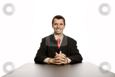 Desk stock photo, Young business man on a desk, isolated on white by Rui Vale de Sousa