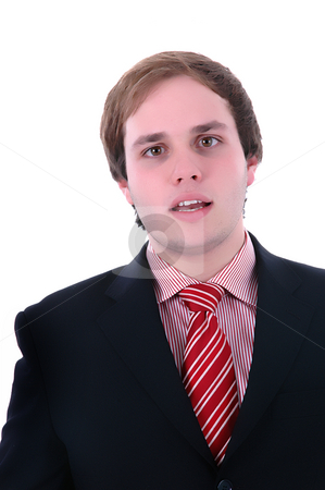 Man stock photo, Young business man portrait in a white background by Rui Vale de Sousa